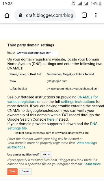 Domin add blogger