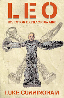 Leo Inventor Extrodinaire book cover featuring a boy in a mechanized suit.