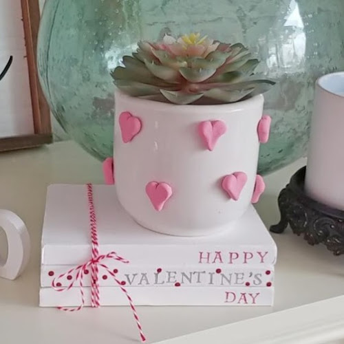 Valentine Book Stack and Upcycled Planter