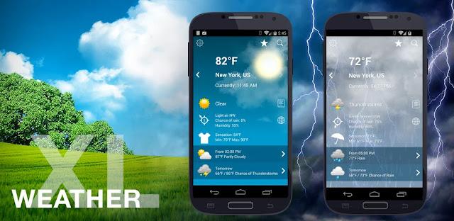 تنزيل تطبيق Weather XL PRO  برنامج طقس بسيط ودقيق لنظام الاندرويد