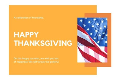Image of Happy USA Thanksgiving written on yellow background with USA flag.