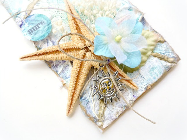 Mixed Media Beach Tag with Shells Metal Charms and Flowers