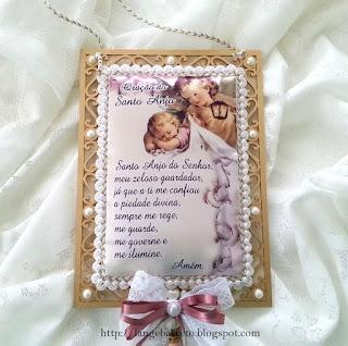 Pingente para porta Oração Santo Anjo