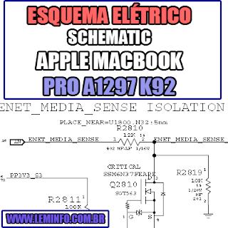 Esquema Elétrico Notebook Apple A1297 K92 Macbook Pro Laptop Manual de Serviço