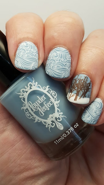library dust, nailart stamping, nail art, snow, wind, cold, trees