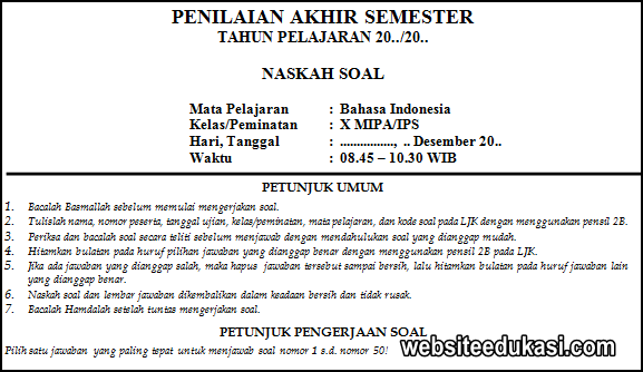 Soal Pas Bahasa Indonesia Kelas 10 K13 Tahun 2020 2021 Websiteedukasi Com