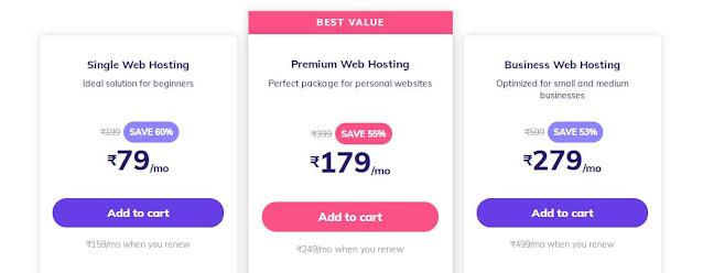 Web Hosting prices in Hostinger