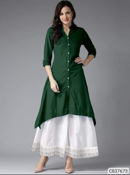 STUNNING cotton Solid with button KNEE Length kurti set