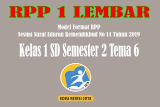 RPP 1 Lembar SD Kelas 1 Semester 2 Tema 6