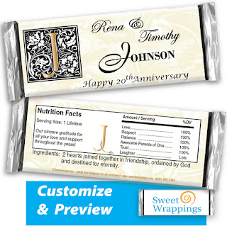 Image of personalized candy bar wrapper