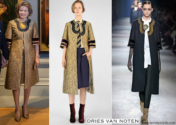 Queen Mathilde wore Dries Van Noten coat from A/W 2016-2017 collection