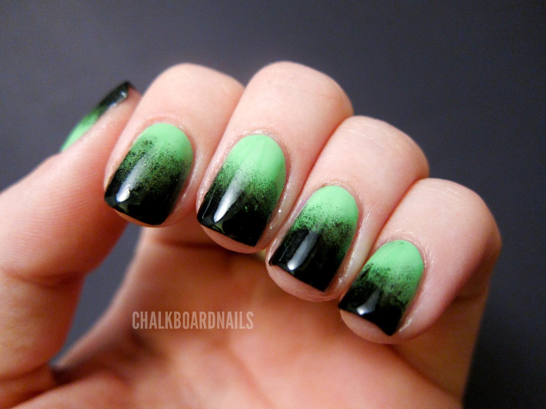 Festive Green Gradient   Chalkboard Nails   Nail Art Blog