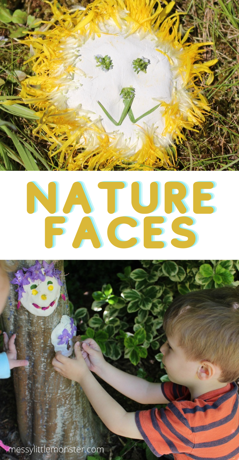 Nature faces. Clay faces on trees.