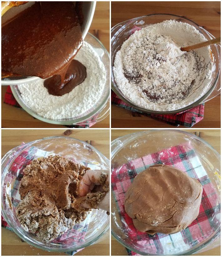 Cómo hacer la masa de las galletas de jengibre, segundo paso,  haciendo la masacollage de 4 fotos