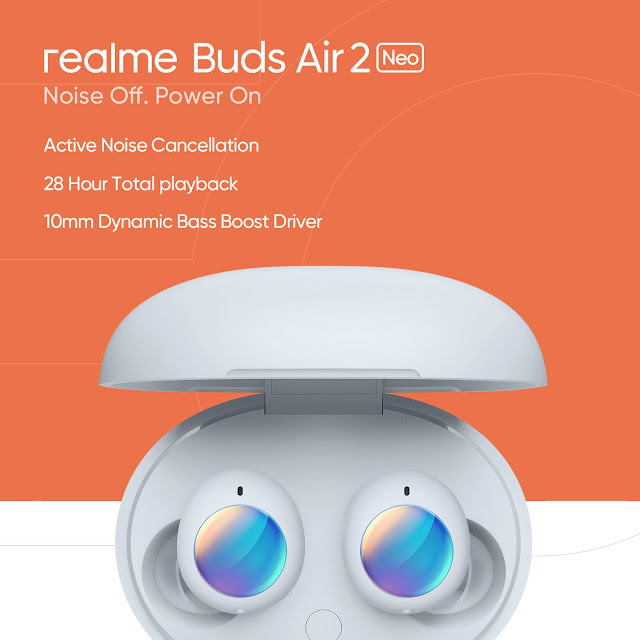 New Realme Buds Air 2 Neo image teased - Said to come with ANC, 25hours of playback, and 10mm Drivers