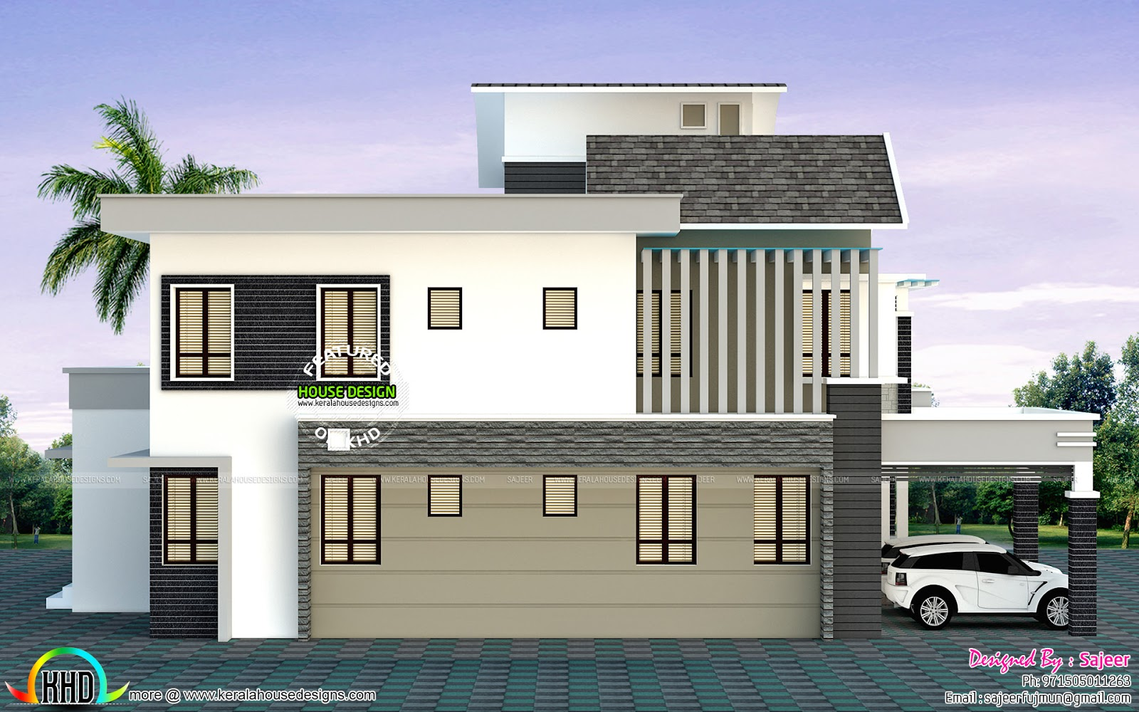 Front left and right view of modern home kerala home for Modern house front view design