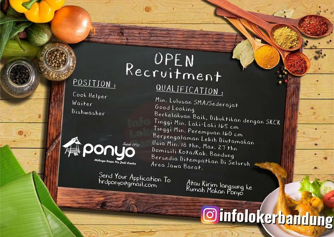Lowongan Kerja Rumah Makan Ponyo Bandung Januari 2020