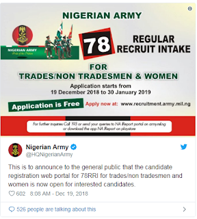 See How To Apply Nigerian Army 78 Regular Recruitment Exercise