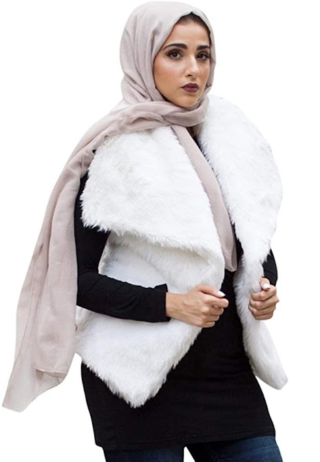 Elegant Hijab with White Faux Fur Vests For Women