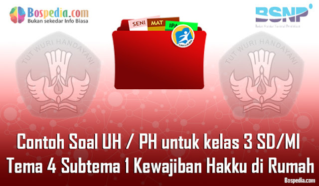 Contoh Soal UH / PH untuk kelas 3 SD/MI Tema 4 Subtema 1 Kewajiban dan Hakku di Rumah