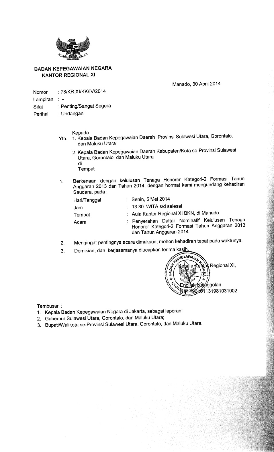 Surat Undangan Penyerahan Daftar Nominatif Th K2 Formasi Tahun