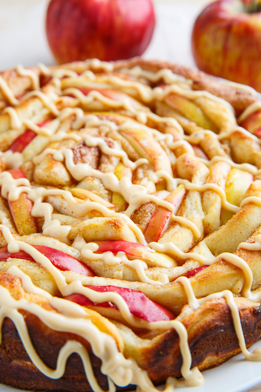 Apple Cinnamon Spiral Bread with Caramel Cream Cheese Frosting