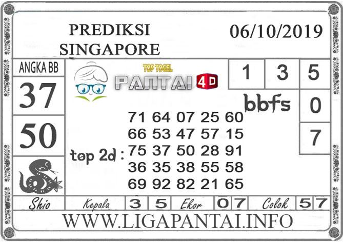 """PREDIKSI TOGEL """"SINGAPORE"""" PANTAI4D 06 OKTOBER 2019"""