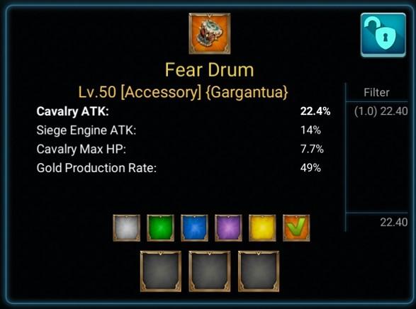 Item Fear Drum pada Lords Mobile