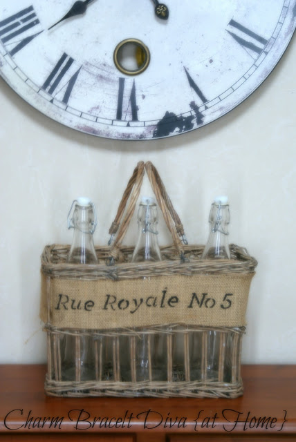 stenciled willow bottle basket