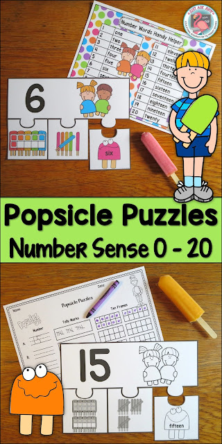 This number sense activity with a colorful popsicle theme is perfect for teaching basic number sense 0-20 in preschool, kindergarten, and the beginning of first grade. You select the range of numbers to meet your students' instructional needs. $