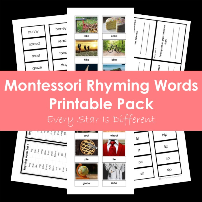 Montessori Rhyming Words Printable Pack