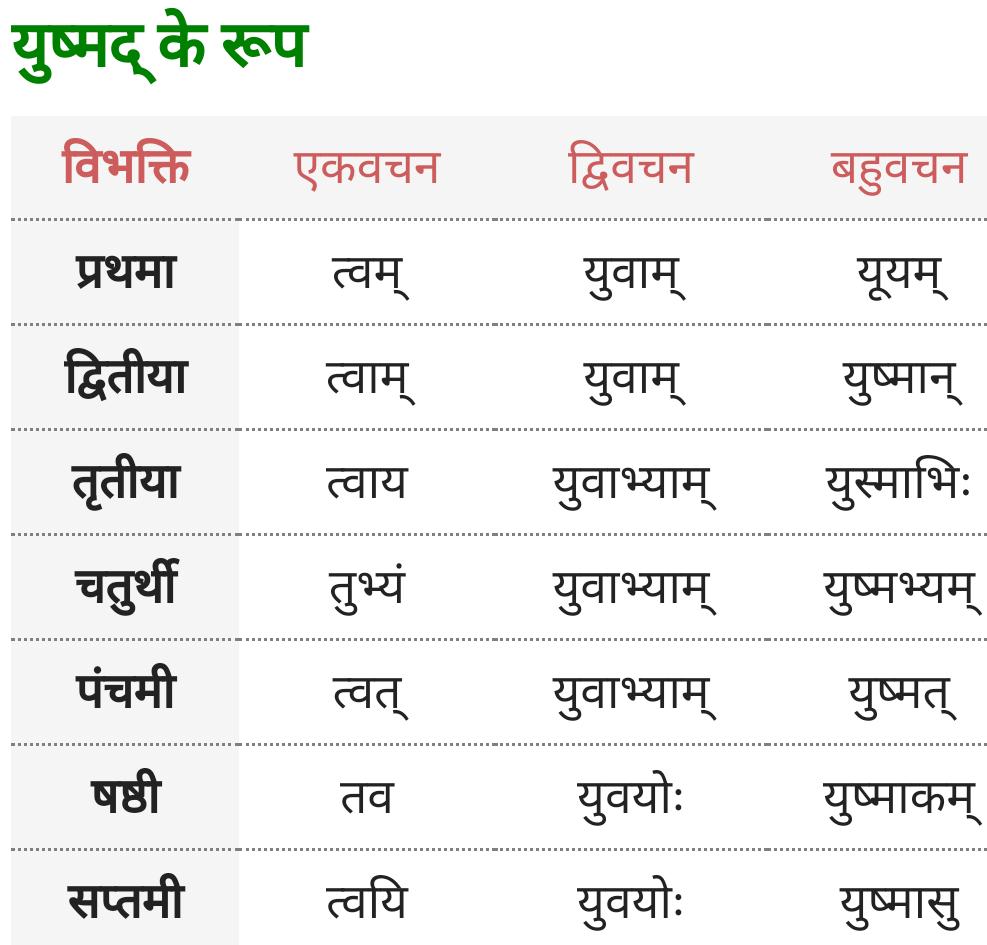 Yushmad Shabd Roop - Sanskrit