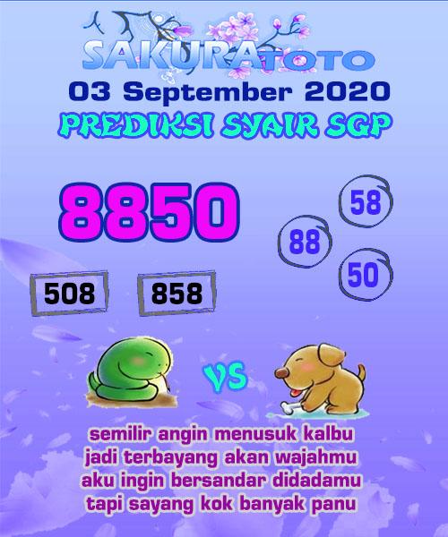 Syair Sakuratoto SGP Kamis 03 September 2020