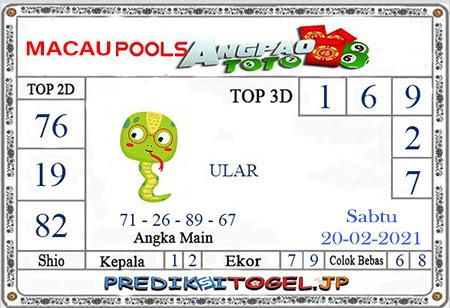 Prediksi Angpao Toto Macau untuk Sabtu, 20 Februari 2021