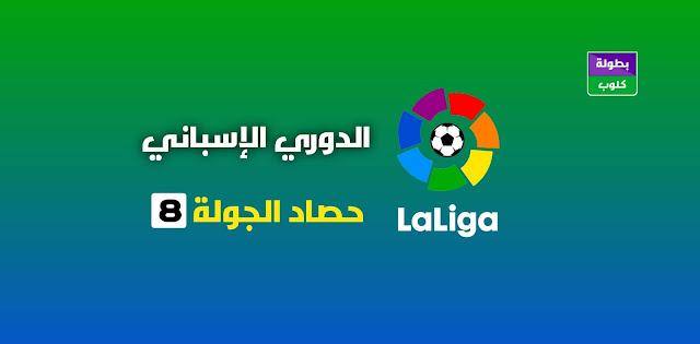 حصاد الجولة الثامنة من الدوري الإسباني : الترتيب الكامل و ترتيب الهدافين