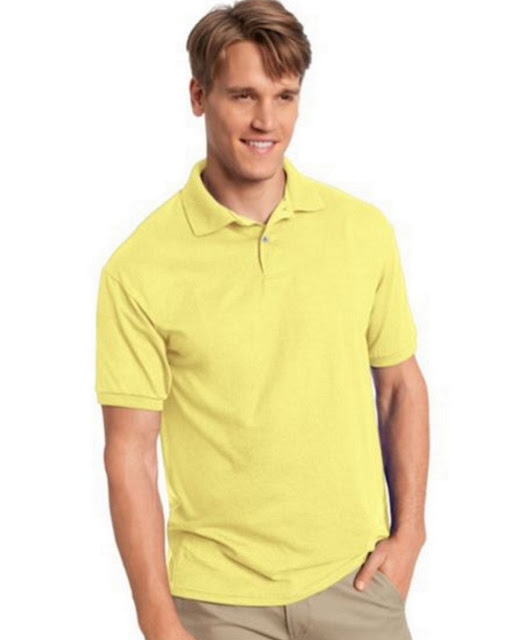 Hanes 054X Mens Comfortblend Jersey Polo -Yellow – M