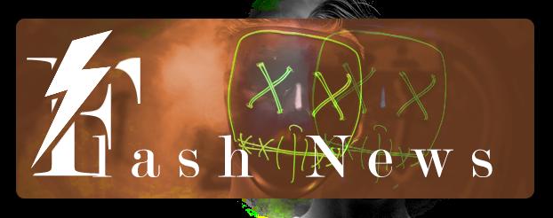 Logotipo de Flash News contendo um raio sobre o F e duas máscaras com olhos em forma de X e bocas costuradas em fundo laranja