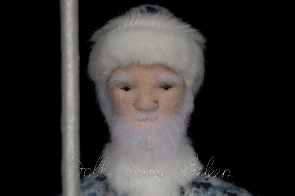 OOAK needle felted Father Frost doll's face closeup