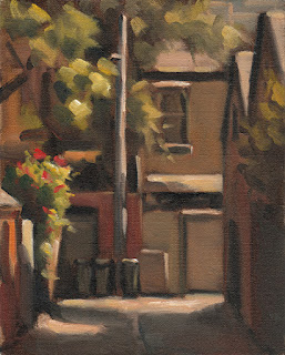 Landscape oil painting of a short laneway surrounded by double-storey buildings and trees.