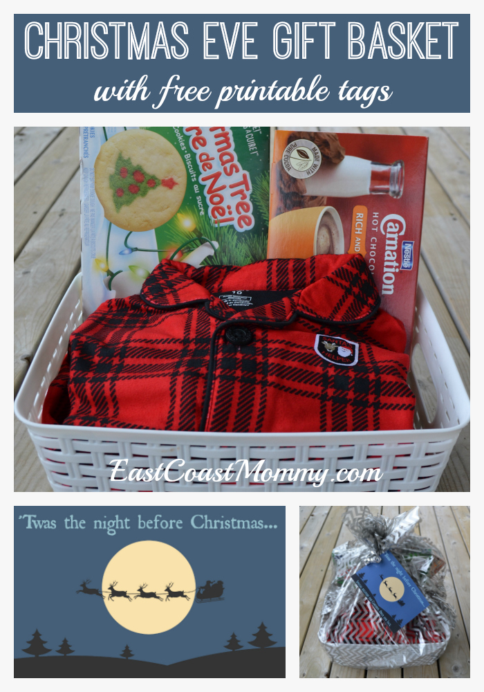 this year i decided to put the pjs cookies and cocoa together in adorable christmas eve gift basket with a sweet tag that you can download below for