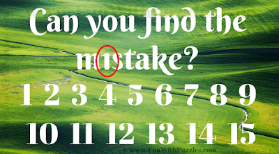 Can you find the m1stake? 1 2 3 4 5 6 7 8 9 10 11 12 13 14 15