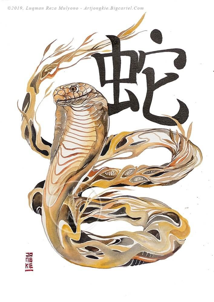 06-The-Snake-jongkie-Year-of-the-Pig-Chinese-New-Year-Zodiac-Drawings