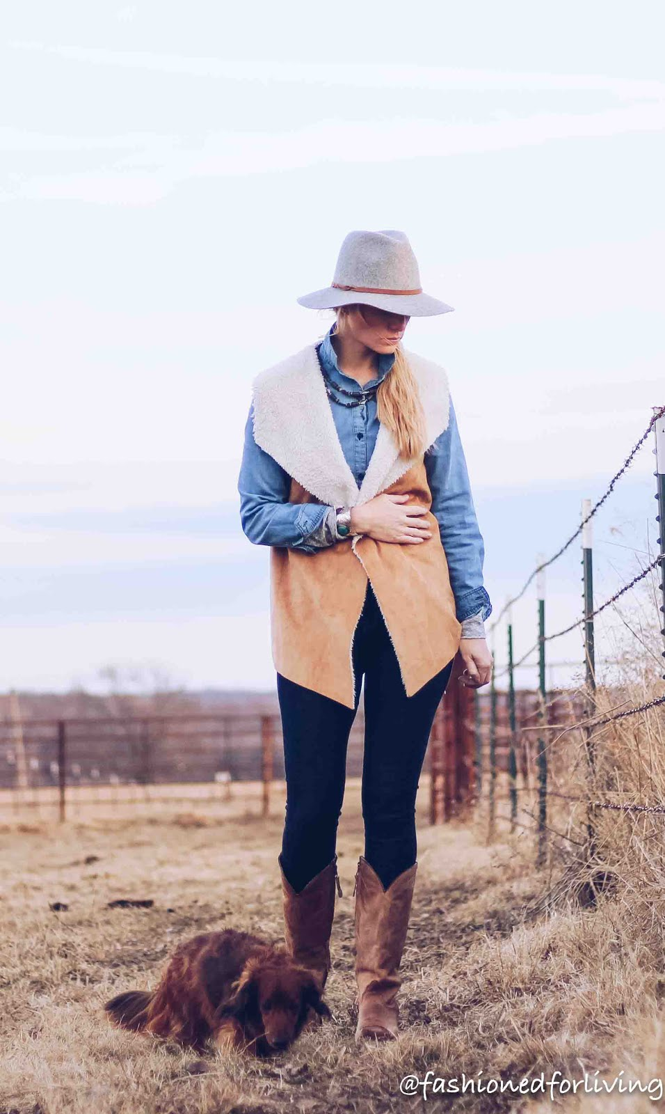 92c28a03a9f outfit details hat - Target - here denim shirt - Old Navy - here high  waisted skinnies - Old Navy - here cowboy boots - Tony Lama - here