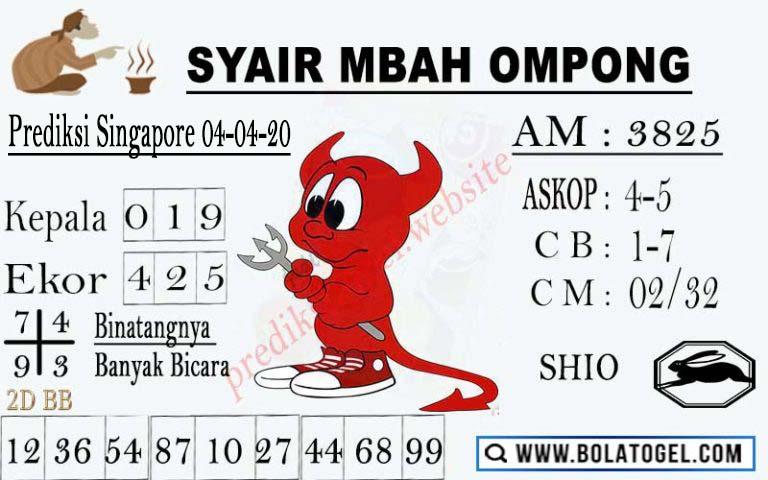 Prediksi SGP Sabtu 04 April 2020 - Syair Mbah Ompong SGP