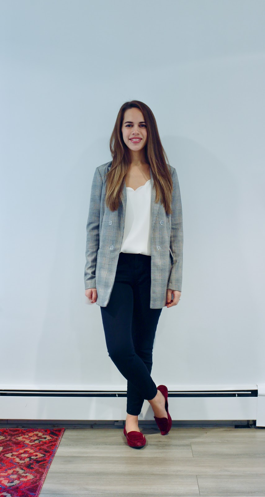 Jules in Flats - Oversized Plaid Blazer (Business Casual Fall Workwear on a Budget)