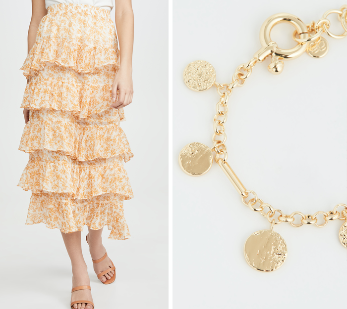 tiered ruffle midi skirt, charm bracelet