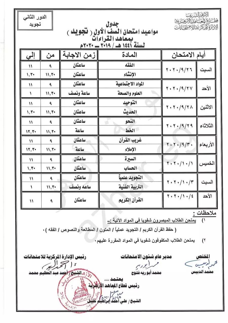 جدول امتحانات شهادة التجويد بمعاهد القراءات 2020