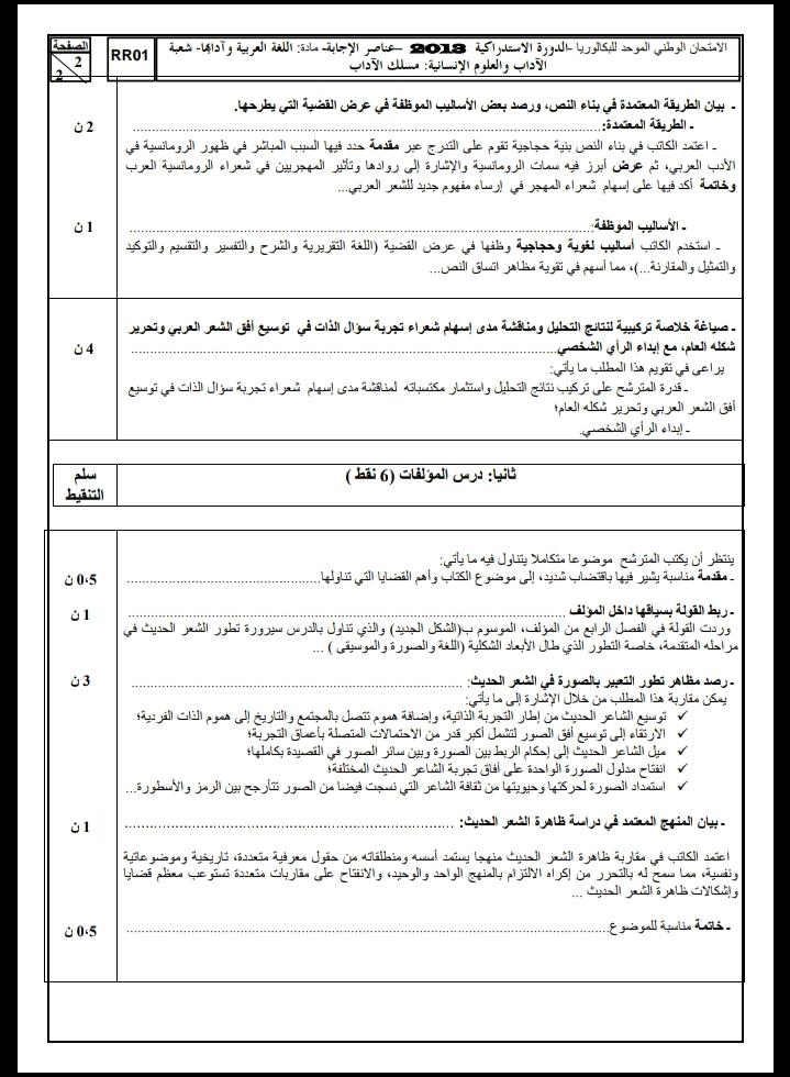الامتحان الوطني الموحد للباكالوريا / اللغة العربية، مسلك الآداب، الدورة الاستدراكية 2013