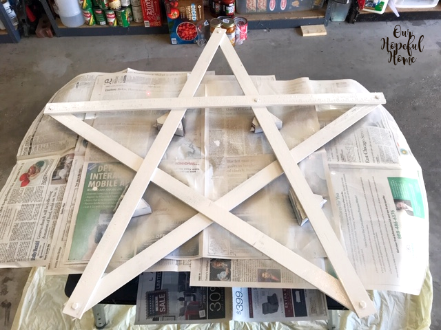 five point wooden painted white outdoor DIY star