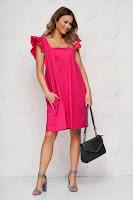 Rochie SunShine roz din poplin cu croi larg